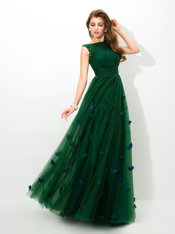 A-Line/Princess Sheer Neck Beading Long Net Dress