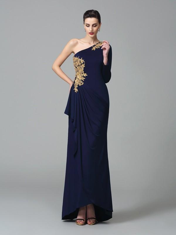 Sheath/Column One-Shoulder Embroidery Long Sleeves Long Spandex Dress