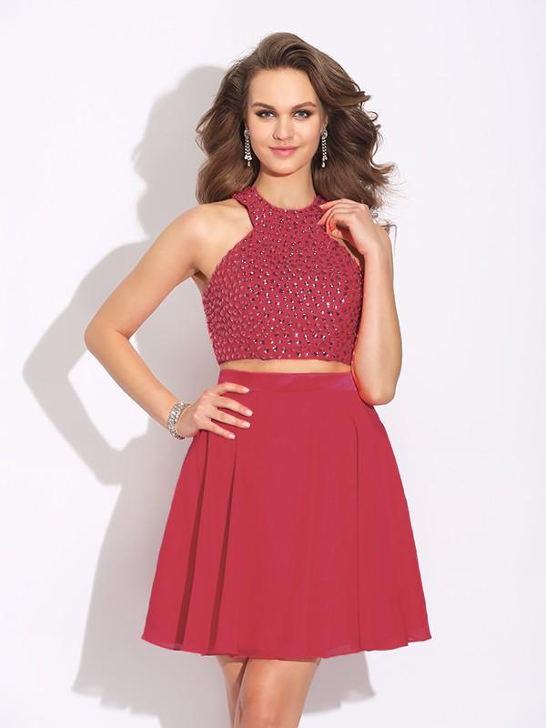 A-Line/Princess Jewel Crystal Short Chiffon Two Piece Dress
