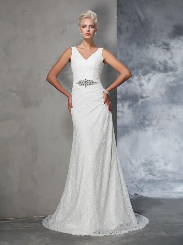 Trumpet/Mermaid V-neck Lace Lace Wedding Dress
