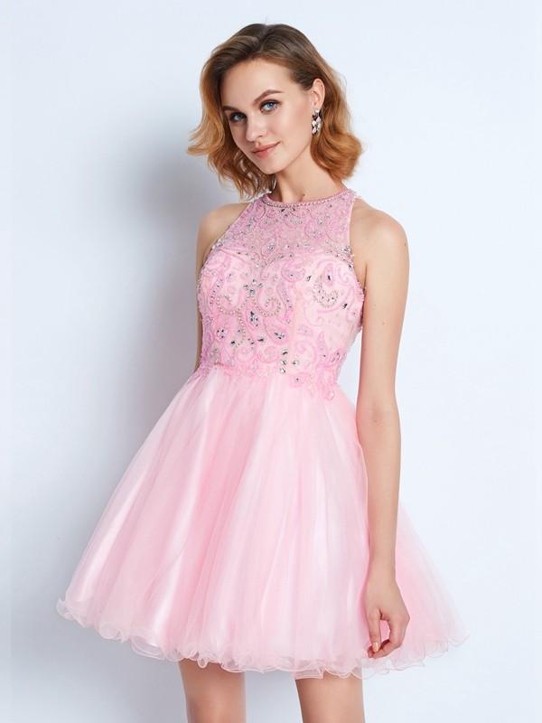 A-line/Princess Jewel Short/Mini Net Ruffles Dress