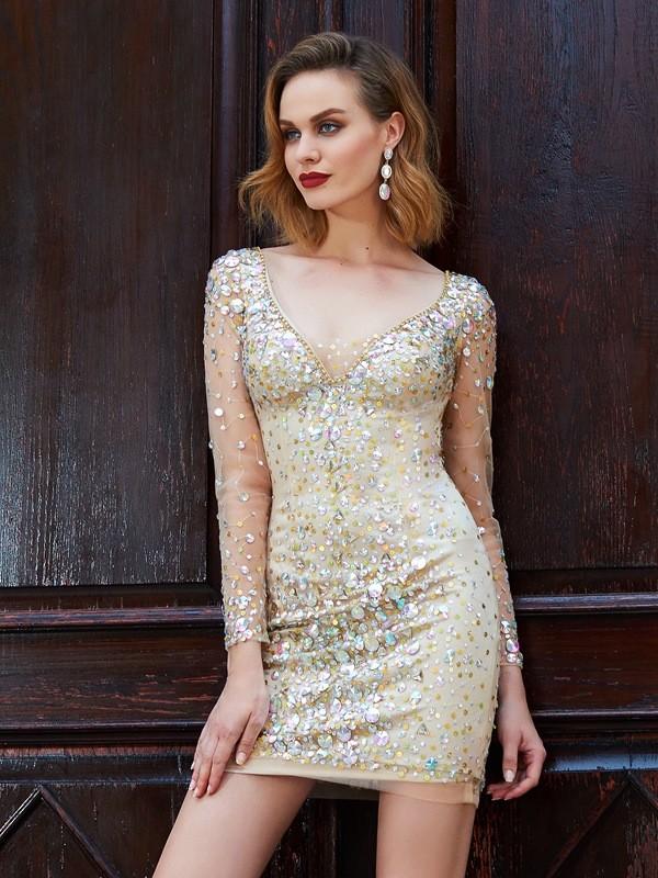 Sheath/Column Scoop Long Sleeves Net Rhinestone Short/Mini Dress