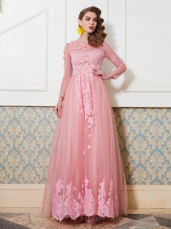 A-Line/Princess Scoop 3/4 Sleeves Floor-Length Applique Tulle Dress