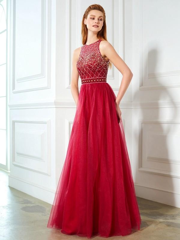 A-Line/Princess Scoop Floor-Length Tulle Dress