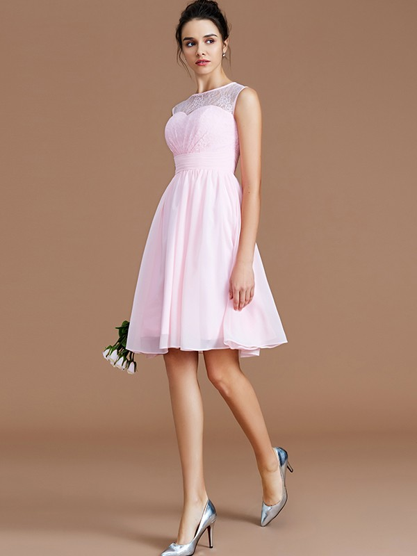 A-Line/Princess Sweetheart Lace Short/Mini Chiffon Bridesmaid Dress