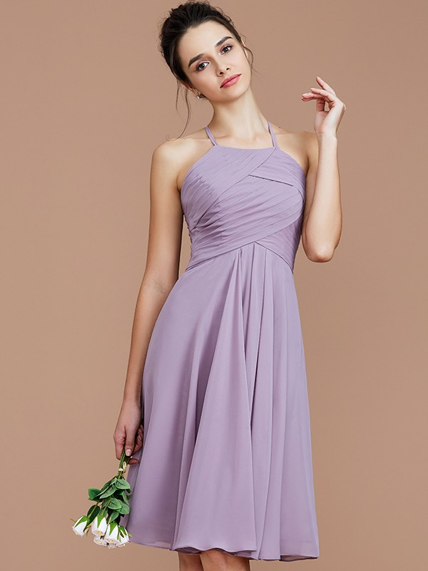 A-Line/Princess Halter Ruched Short/Mini Chiffon Bridesmaid Dress