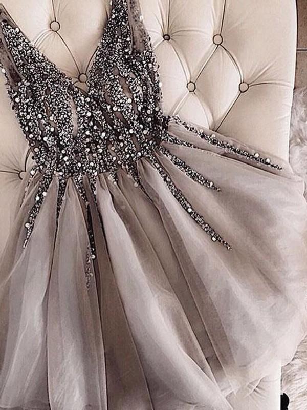 A-Line/Princess Sleeveless V-neck Tulle Sequin Short/Mini Dress