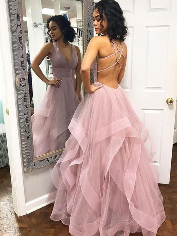 A-Line/Princess V-neck Sleeveless Floor-Length Ruffles Tulle Dresses