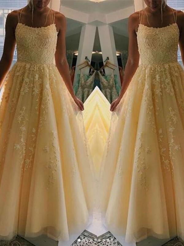 A-Line/Princess Tulle Applique Sleeveless Floor-Length Dresses