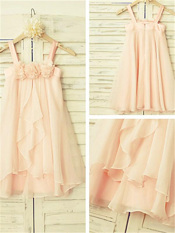 A-line/Princess Spaghetti Straps Ruffles Tea-Length Chiffon Flower Girl Dress