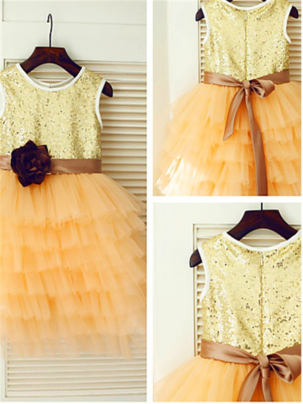 A-line/Princess Scoop Tea-Length Sequin Tulle Flower Girl Dress