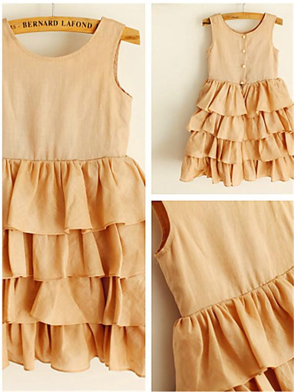 A-line/Princess Scoop Layers Tea-Length Chiffon Flower Girl Dress