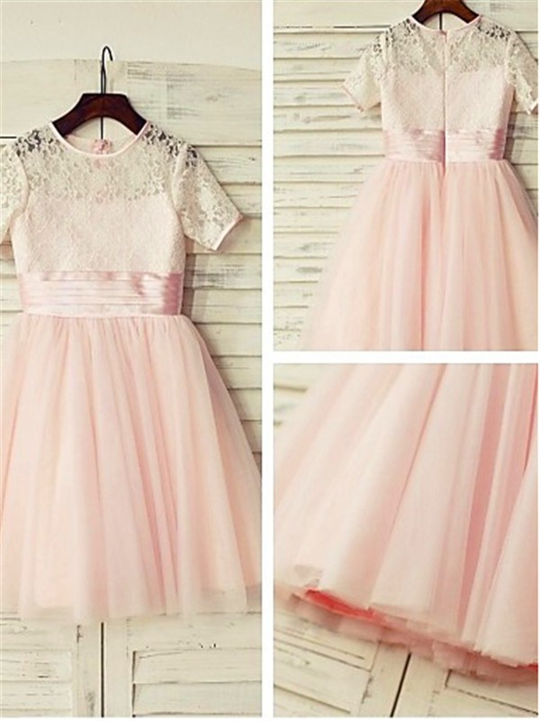 A-line/Princess Jewel Tea-Length Tulle Flower Girl Dress with Lace