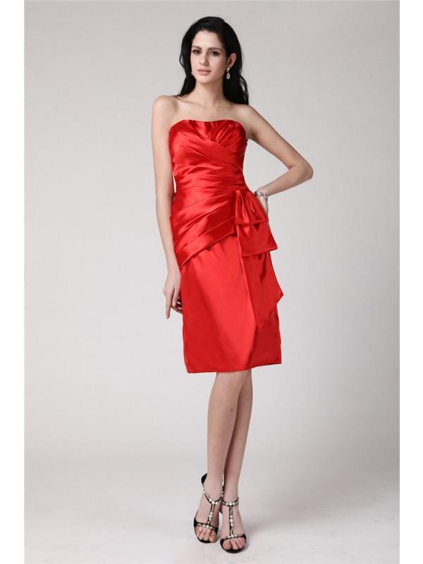 Sheath/Column Strapless Pleats Short Elastic Woven Satin Cocktail Dress
