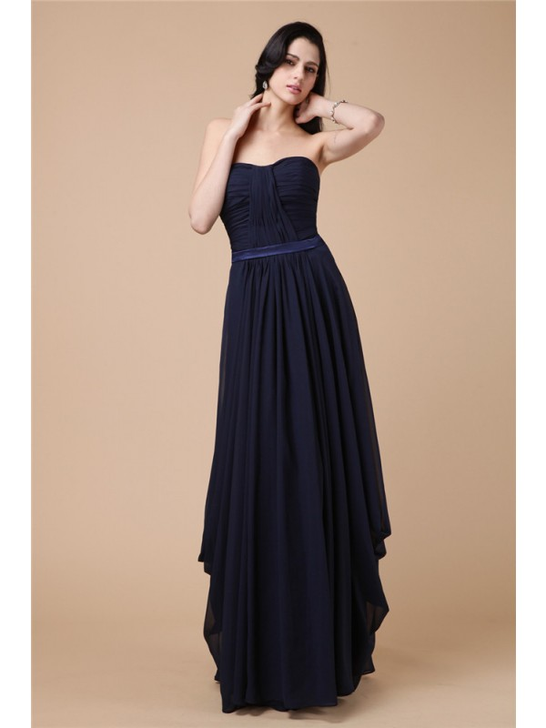 Sheath/Column Strapless Pleats Chiffon Dress