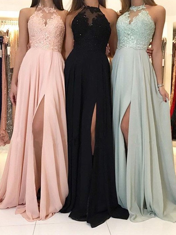 A-Line/Princess Halter Applique Sleeveless Sweep/Brush Train Chiffon Dress