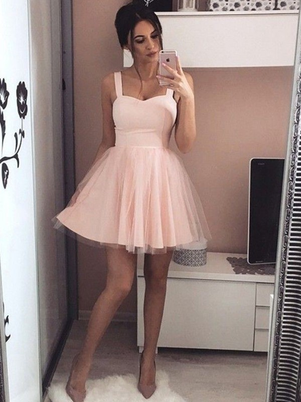 A-Line/Princess Satin Straps Ruched Short/Mini Dress