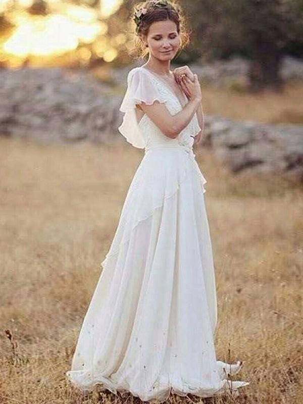 A-Line/Princess Chiffon V-neck Short Sleeves Floor-Length Wedding Dress