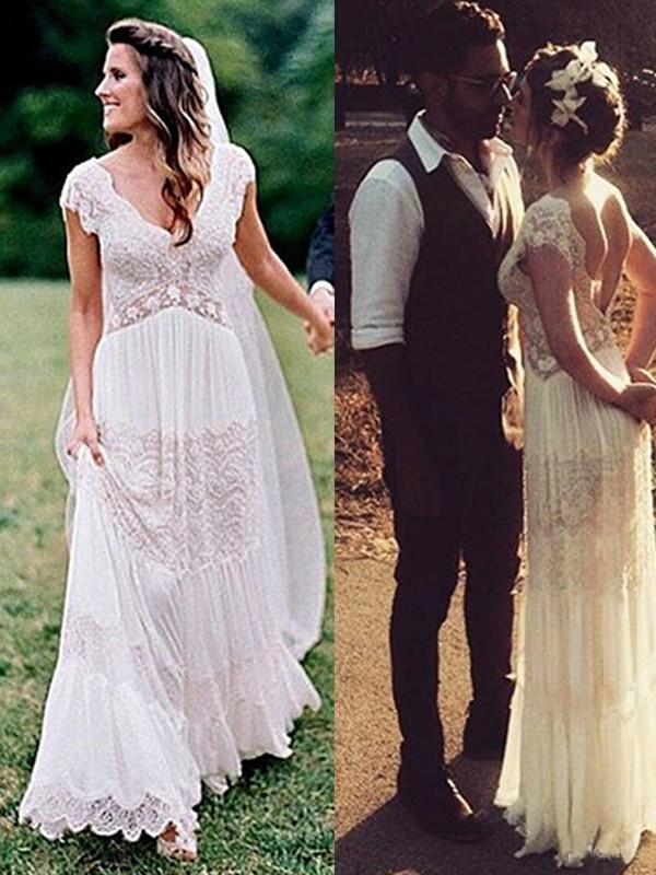 A-Line/Princess Lace V-neck Short Sleeves Floor-Length Wedding Dress