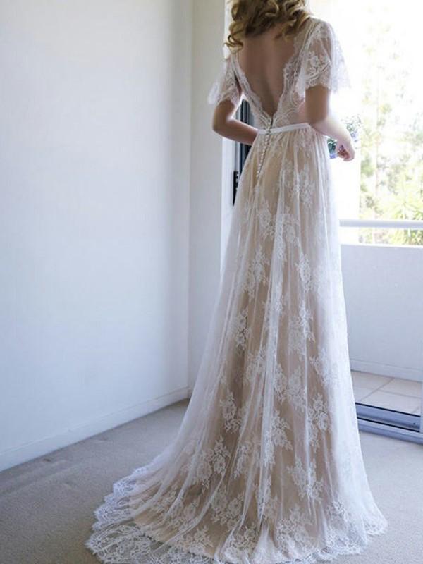 A-Line/Princess Lace V-neck Short Sleeves Sweep/Brush Train Wedding Dress