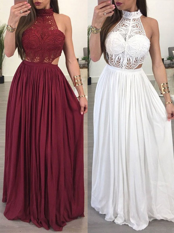 A-Line/Princess Sleeveless Floor-Length Chiffon Lace Dresses
