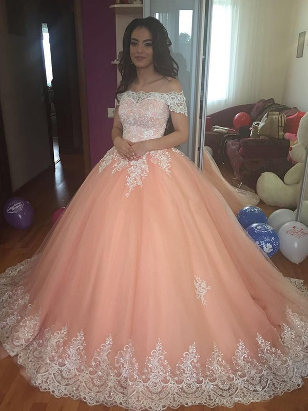 Ball Gown Sleeveless Off-the-Shoulder Court Train Tulle Lace Dresses