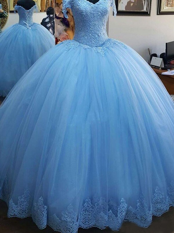 Ball Gown Sleeveless Off-the-Shoulder Sweep/Brush Train Lace Dresses