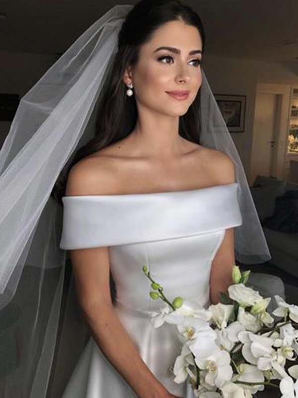 A-Line/Princess Off-the-Shoulder Sweep/Brush Train Sleeveless Ruffles Wedding Dresses with Satin