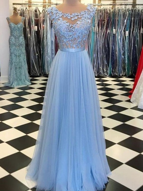 A-Line/Princess Scoop Sleeveless Floor-Length Applique Dresses with Tulle
