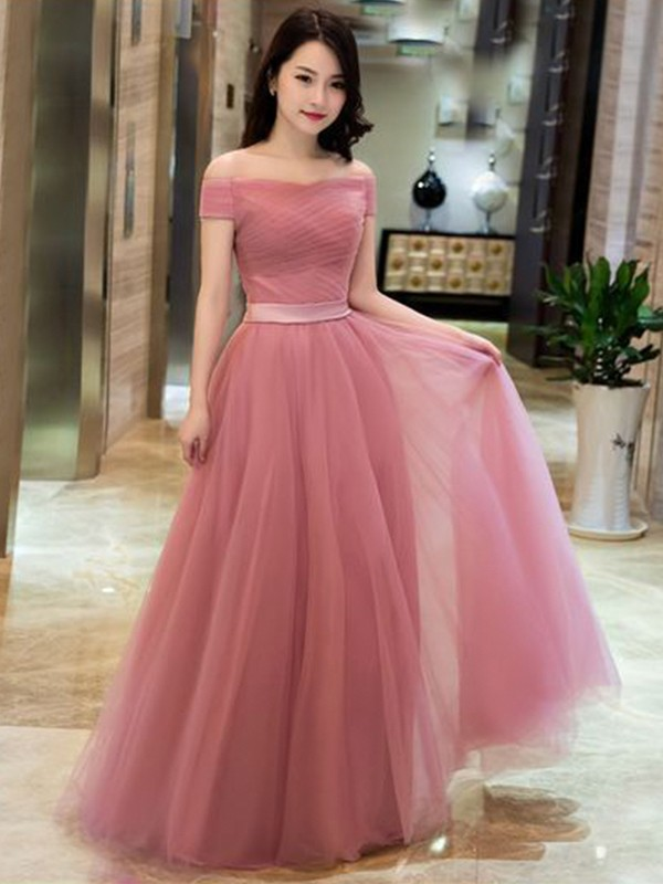 A-Line/Princess Ruffles Off-the-Shoulder Sleeveless Floor-Length Dresses with Tulle