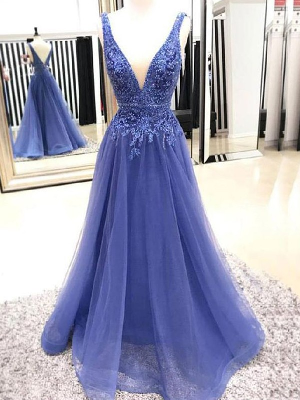 A-Line/Princess Sleeveless Floor-Length V-neck Applique Dresses with Tulle