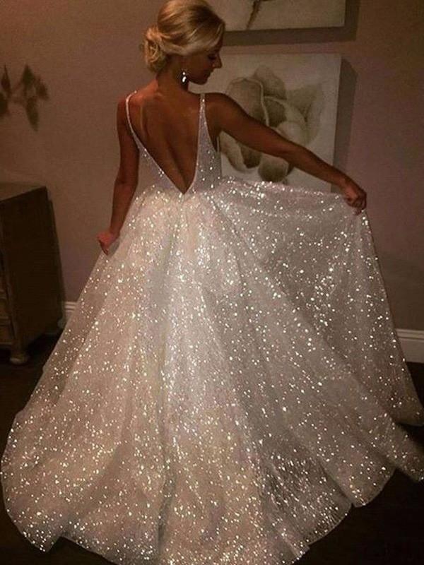 A-Line/Princess Other Sweep/Brush Train Sleeveless V-neck Sequin Dresses