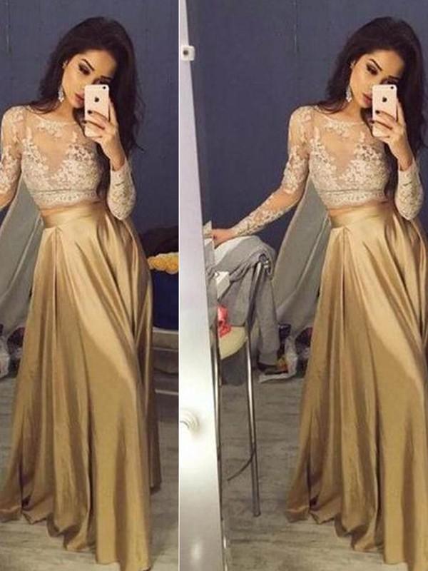 A-Line/Princess Long Sleeves Scoop Taffeta Applique Floor-Length Two Piece Dresses