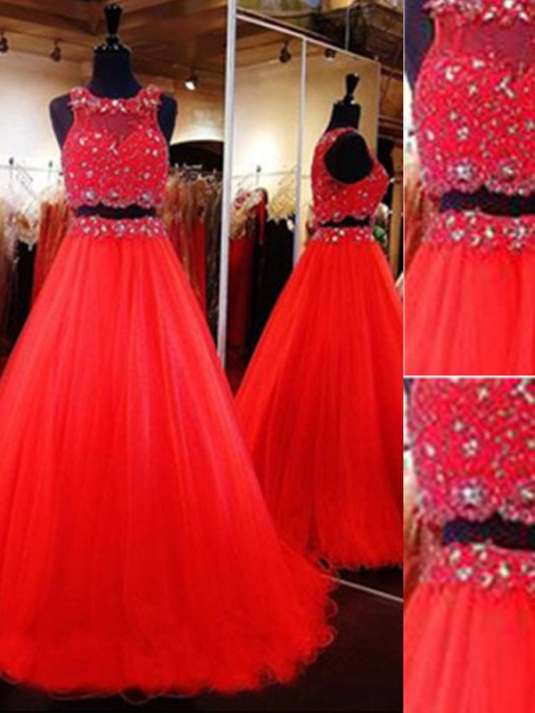 A-Line/Princess Scoop Floor-Length Tulle Two Piece Dress