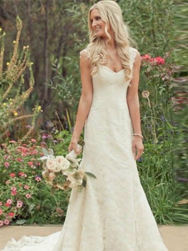 Trumpet/Mermaid Sweep/Brush Train V-neck Lace Wedding Dress