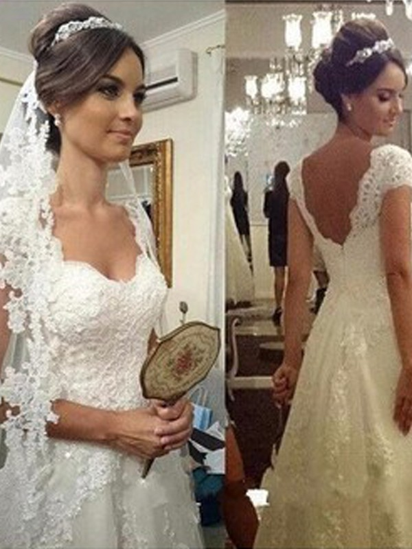 A-Line/Princess Sweetheart Sweep/Brush Train Sleeveless Lace Tulle Wedding Dresses