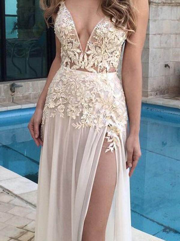 A-Line/Princess V-Neck Chiffon Applique Floor-Length Dress