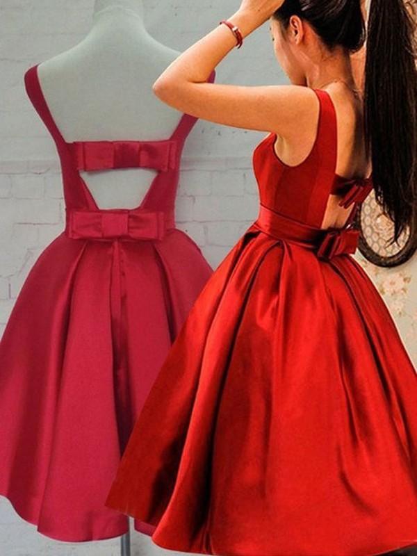A-Line/Princess Scoop Sash/Ribbon/Belt Satin Short/Mini Dress