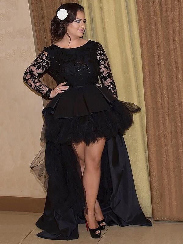 A-Line/Princess Long Sleeves Scoop Satin Applique Asymmetrical Plus Size Dress