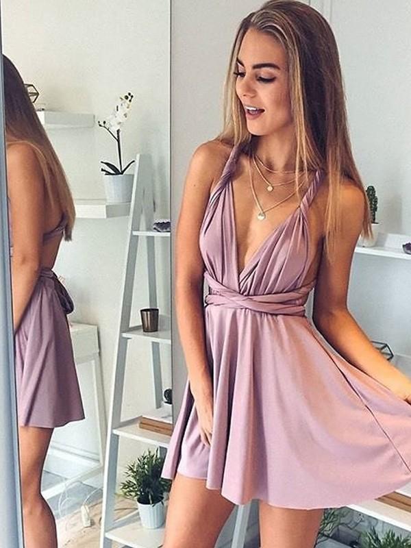 A-Line/Princess V-neck Short/Mini Silk like Satin Dress