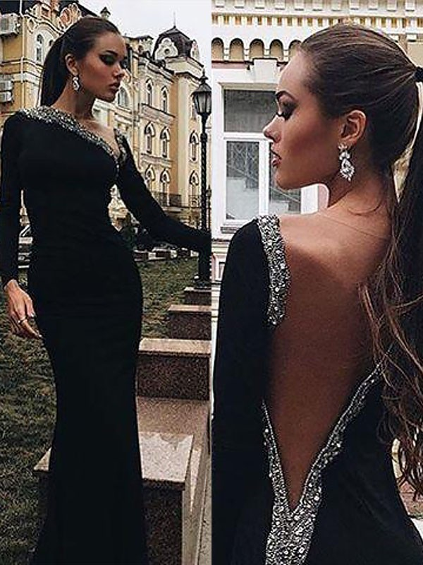 Trumpet/Mermaid Long Sleeves One-Shoulder Spandex Beading Floor-Length Dresses