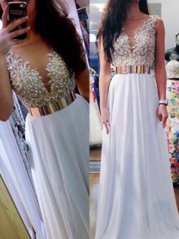 A-Line/Princess V-neck Floor-Length Beading Chiffon Dress