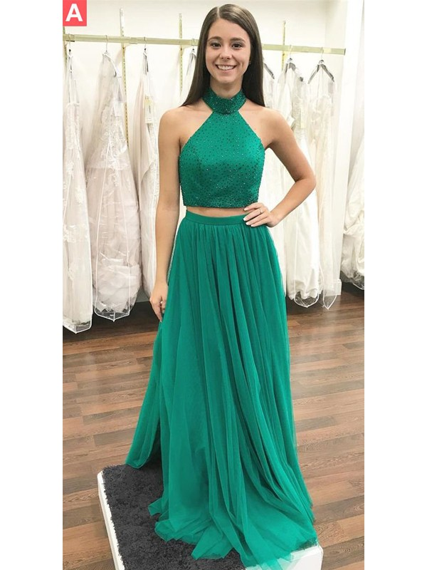 A-Line/Princess Halter Floor-Length Beading Tulle Two Piece Dress