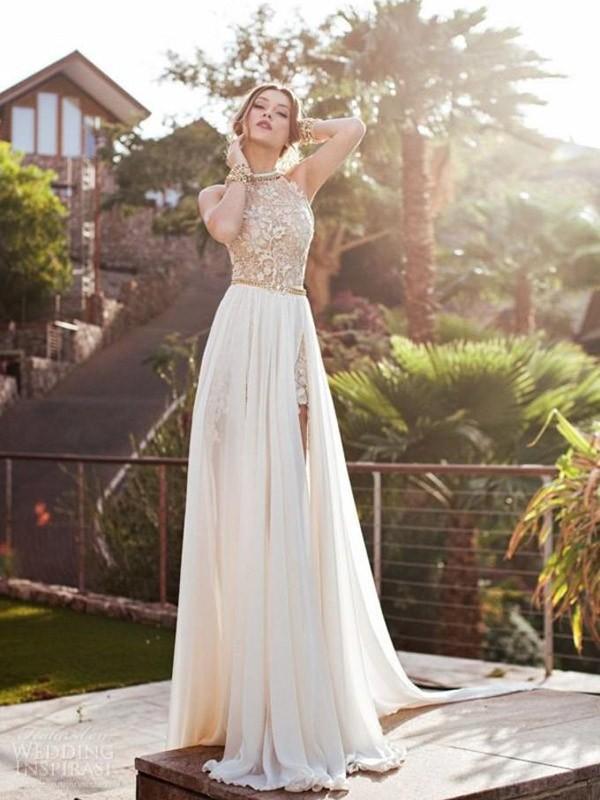 A-Line/Princess Halter Lace Chiffon Sweep/Brush Train Dress
