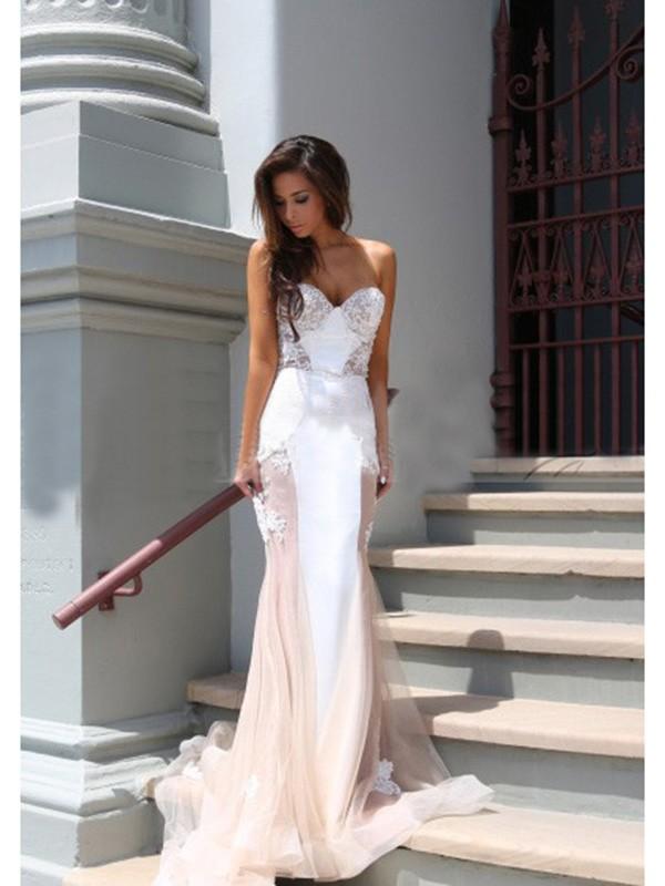 Trumpet/Mermaid Sweetheart Tulle Chapel Train Dress