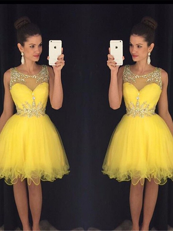 A-Line/Princess Scoop Tulle Short/Mini Dress
