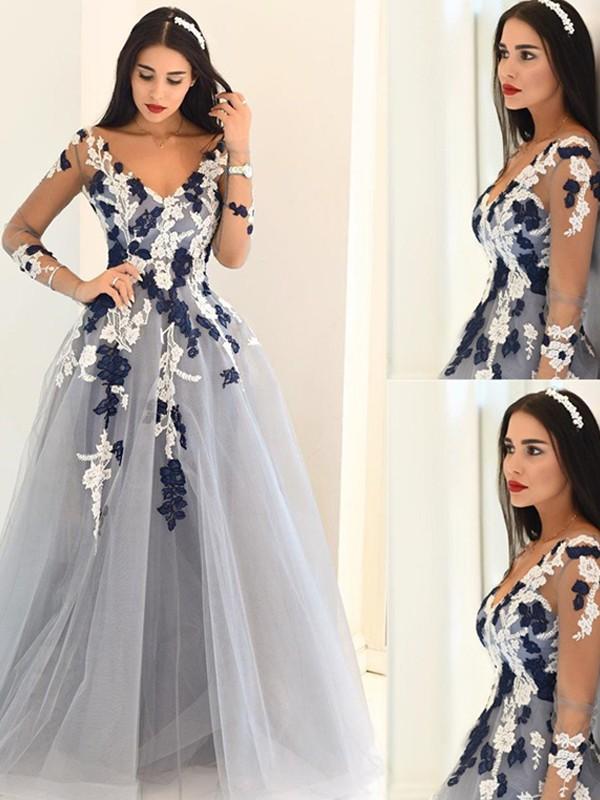 A-Line/Princess V-Neck Long Sleeves Applique Tulle Floor-length Dresses