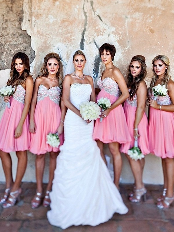 A-Line/Princess Sweetheart Short/Mini Chiffon Bridesmaid Dress