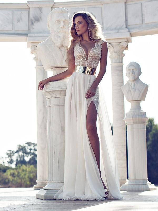 A-Line/Princess V-neck Lace Floor-Length Chiffon Dress