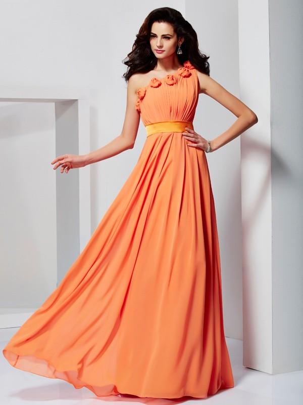 997598e3e3a A-Line/Princess One-Shoulder Sleeveless Hand-Made Flower Long Chiffon  Dresses